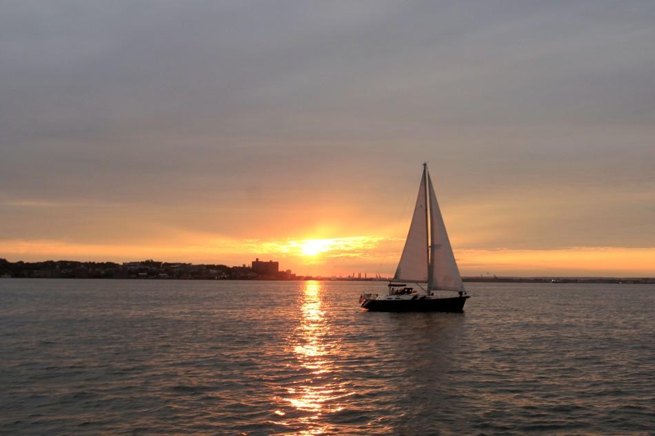 Sun setting over Staten Island