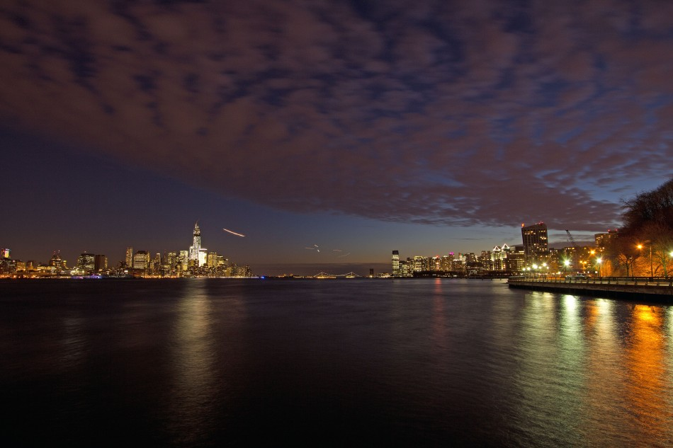 View Down the Hudson at Night