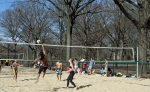 Beach Volleball Player Going for the Spike