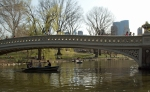 Rowing the boat under Bow Bridge